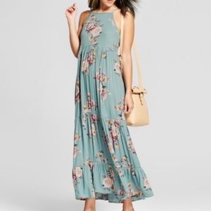 Boho blue floral lace up side dress